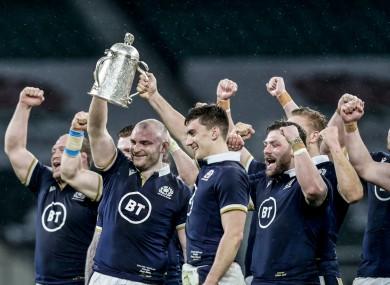 Scotland celebrate with the Calcutta Cup.
