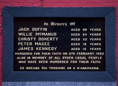 A memorial to Jack Duffin, Willie McManus, Christy Doherty, Peter Magee, and James Kennedy who were killed during the Sean Graham Bookmakers shooting attack on 5 February 1992.