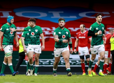 Ireland players react to Wales defeat.