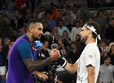 The pair shake at the end of the match.