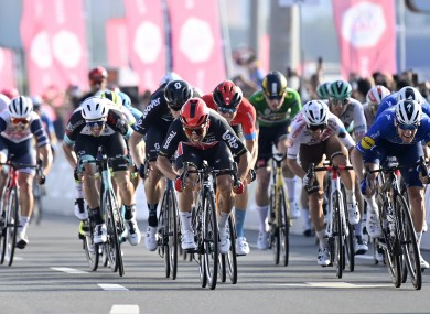 Caleb Ewan holds off Sam Bennett to win the seventh and final stage of the UAE Tour.