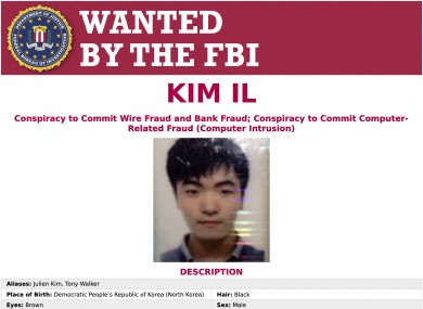 A wanted poster released by the US Department of Justice