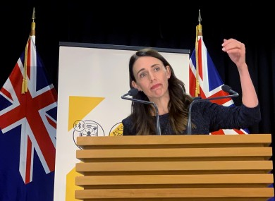 New Zealand's Prime Minister Jacinda Ardern talks to media in Wellington.