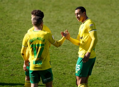 Norwich striker Adam Idah celebrates his goal.