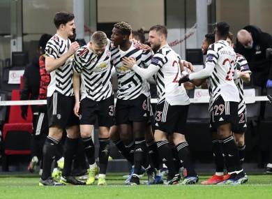 Man United celebrate Pogba's goal.