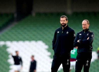 Ireland head coach Andy Farrell and attack coach Mike Catt.