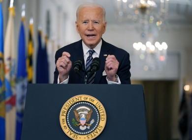 Biden speaking in the White House's East Room last night.