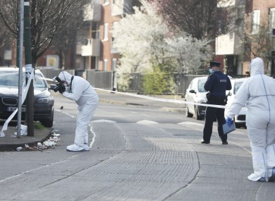 Gardaí and members of the Technical Bureau at the scene yesterday