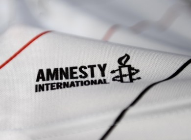 A view of the Amnesty International logo on the Bohemians jersey (file pic).
