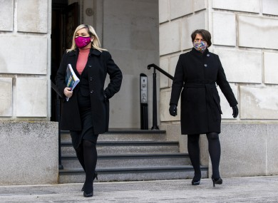 File photo. NI's deputy first minister Michelle O'Neill (left) with first minister Arlene Foster