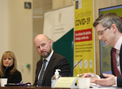 Dr Breda Smyth, Professor Philip Nolan and Dr Ronan Glynn at the Department of Health this evening.