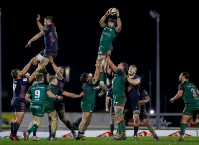 Eoghan Masterson wins a line-out.