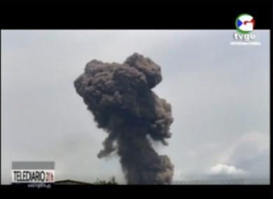 Video shows smoke rising over the blast site at a military barracks in Bata, Equatorial Guinea.
