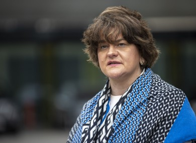 Arlene Foster pictured today in a visit to the Ulster Hospital vaccination centre.