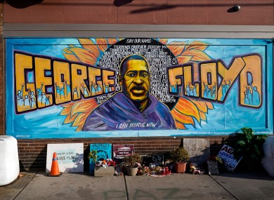 A mural of George Floyd in the US.