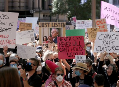 Thousands of people with placards and banners rally demanding justice for women in Sydney