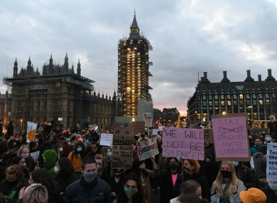 Demonstrators on Westminster Bridge, central London