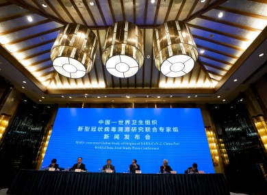 A WHO-China joint study press conference in Wuhan last February