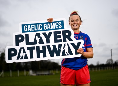 Vikk Wall launching the Gaelic games player pathway.