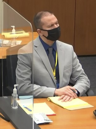 Image of Derek Chauvin in court earlier this month.