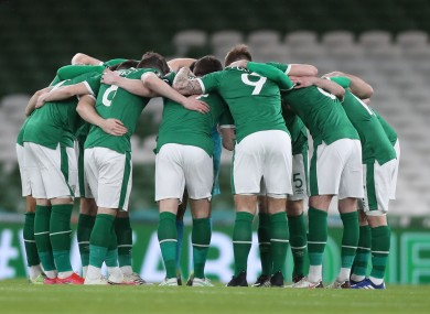 The Irish team huddle ahead of last Saturday's game against Luxembourg.
