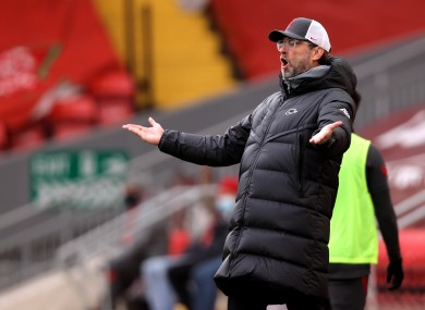 Liverpool manager Jurgen Klopp gestures on the sideline during his side's defeat to Fulham this afternoon.