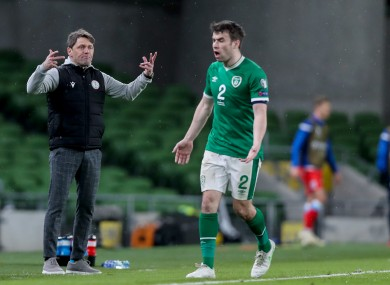 Ireland captain Seamus Coleman expresses his frustration during the defeat to Luxembourg.