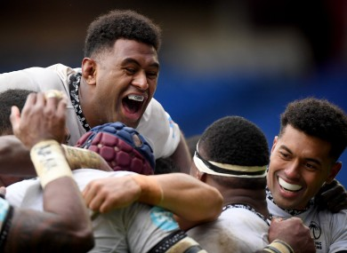 Fiji celebrate a try in the Autumn Nations Cup last year.
