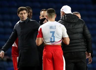 Rangers manager Steven Gerrard after their defeat to Slavia Prague.