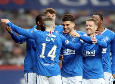Rangers' Ianis Hagi celebrates scoring their third goal.