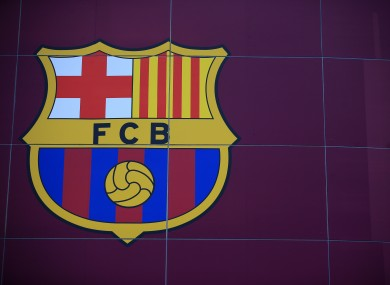 A general view of the Barcelona crest at Nou Camp.