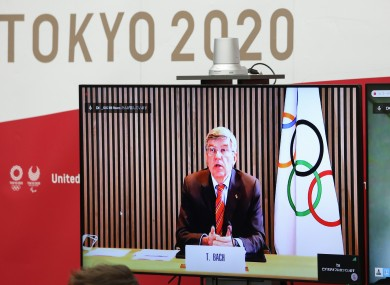 Thomas Bach speaking via video conference recently.