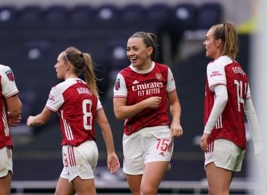 Katie McCabe celebrates her goal against Tottenham.