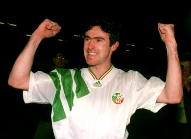 Alan McLoughlin, pictured celebrating his famous goal against Northern Ireland at Windsor Park in 1993.