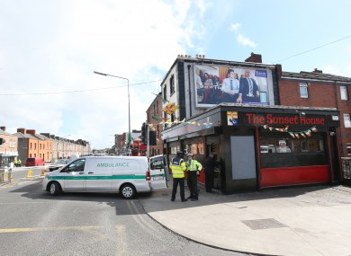 Gardaí outside the Sunset House pub in 2016
