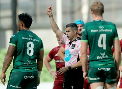 Abraham Papali'i receiving a red card from Frank Murphy during Connacht's defeat to Munster during the restart of rugby last August.