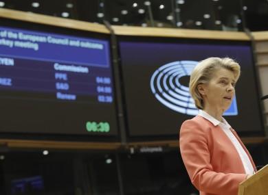 Ursula von der Leyen speaks during a debate in the European Parliament yesterday