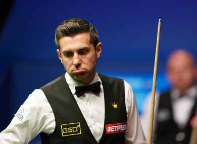 England's Mark Selby in action today.