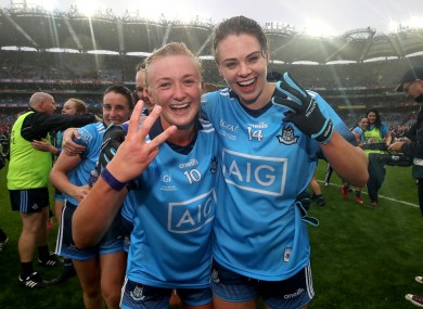 Carla Rowe (left) with the retiring Noelle Healy.
