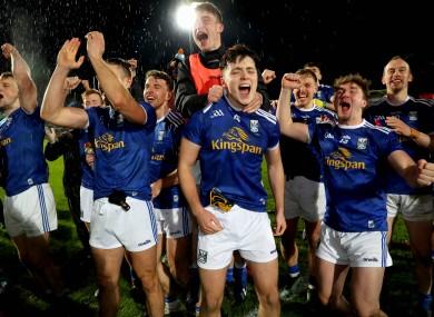 Cavan players celebrating last year's breakthrough Ulster final win.