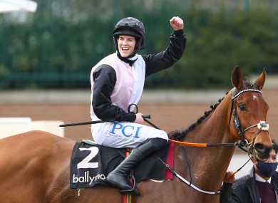 Rachael Blackmore and Bob Olinger after their Ballymore Novices' Hurdle victory at Cheltenham.