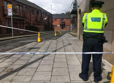 Gardaí at the scene in Cork Street, Dublin today.