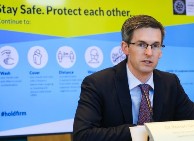 Deputy CMO Dr Ronan Glynn at this afternoon's NPHET briefing.