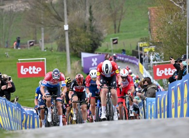 The pack of riders pictured at the Paterberg climb in Kluisbergen.