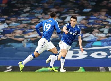 Seamus Coleman celebrates when James Rodriguez scored Everton's opener.