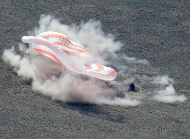 A Russian Soyuz MS-17 space capsule standing on the ground after landing.