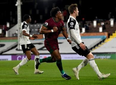 Wolverhampton Wanderers' Adama Traore (centre) celebrates scoring.