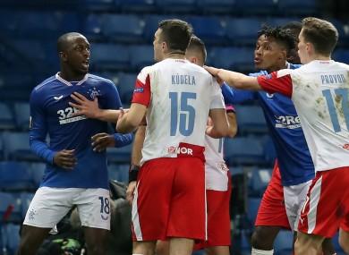 Rangers' Glen Kamara (left) argues with Slavia Prague's Ondrej Kudela, whom he alleged made a racist comment towards him.