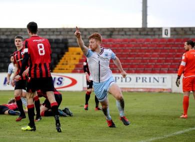Drogheda's Hugh Douglas celebrates after finding the net.