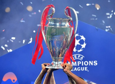 A general view of the Champions League trophy being lifted.